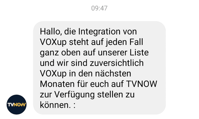 VOXup Empfang TVNOW